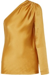 Cushnie Et Ochs One Shoulder Silk Satin Top Gold