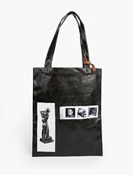 Rick Owens Black Coated Cotton Patch Tote