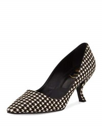Roger Vivier Decollete Virgule Houndstooth Calf Hair 70Mm Pump 0001 B001b