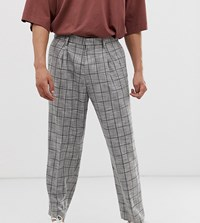 Noak Wide Leg Grey Check Trousers In Grey