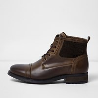 River Island Mens Dark Brown Leather Borg Military Boots