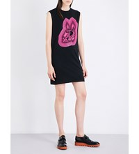Mcq By Alexander Mcqueen Bunny Print Cotton Jersey Dress Black Magenta
