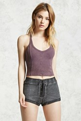 Forever 21 Faded Wash Lace Up Shorts Charcoal