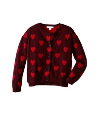 Burberry Siena Heart Cashmere Heart Cardigan Little Kids Big Kids Deep Claret Women's Sweater Pink