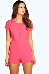 Boohoo Capped Sleeve Woven Playsuit Coral