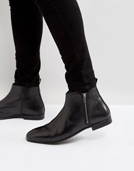 Frank Wright Side Zip Chelsea Boots Black Leather