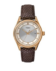 Timex Ladies Goldtone Watch With Lizard Leather Strap Brown