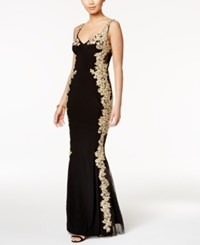 Betsy And Adam Illusion Back Embroidered Gown Black Gold