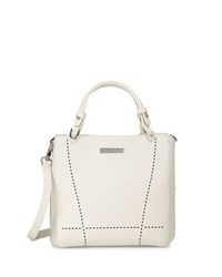 Charles Jourdan Nydia Laser Cut Leather Satchel Bag Bone Ivory