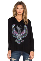 Lauren Moshi Wilma Elements Yin Yang Eagle Oversized Pullover Hoodie Black
