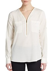 Calvin Klein Roll Tab Sleeve Zip Front Blouse Blush Birch