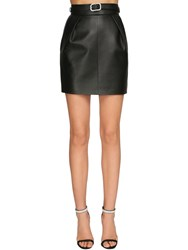 Alexandre Vauthier Belted Leather Mini Skirt Black