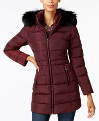 Inc International Concepts I.N.C. Faux Fur Trim Puffer Coat Port Royal