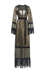 Andrew Gn Long Sleeve Floral Gown Gold