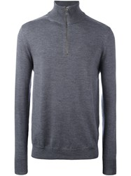 Burberry Zipped Collar Jumper Grey
