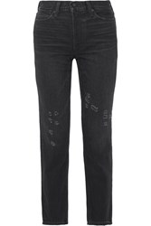 Vince Distressed High Rise Straight Leg Jeans Black