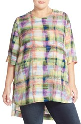 Plus Size Women's Melissa Mccarthy Seven7 High Low Plaid Crepe Tee