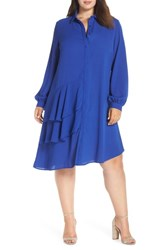 Lost Ink Plus Size Frilly Shirtdress Blue