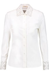 Michael Kors Collection Sequin Embellished Broderie Anglaise Stretch Cotton Poplin Shirt White