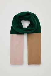 Cos Colour Block Cashmere Scarf Green