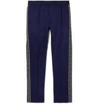 Versace Navy Slim Fit Logo Trimmed Cotton Blend Gabardine Trousers Navy