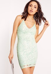 Missguided Strappy Lace Bodycon Dress Mint Green Green