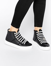 Park Lane Perf Leather High Top Trainers Black