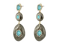 Alexis Bittar Crystal And Stone Studded Liquid Silk Dangling Post Earrings Ash Earring Gray