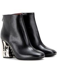Acne Studios Ora Palm Embellished Leather Ankle Boots Black