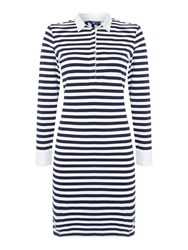 Gant Long Sleeve Striped Dress With Collar White