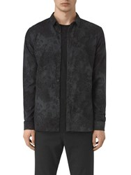 Allsaints Termo Floral Long Sleeve Slim Shirt Charcoal