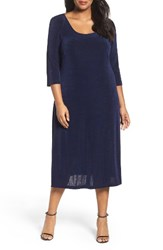 Vikki Vi Plus Size Women's Three Quarter Sleeve Stretch Knit A Line Dress Navy