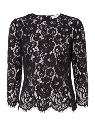 Ivy And Oak Longsleeve Lace Top With Scallop Hem Detail Black