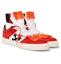 Off White Court Nubuck And Canvas High Top Sneakers Red