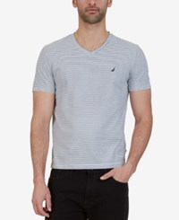 Nautica Men's Striped Slim Fit V Neck Cotton T Shirt Bright White