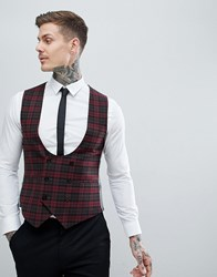 Noose And Monkey Super Skinny Vest In Plaid Check Red