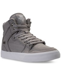 Supra Men's Vaider Casual Skate High Top Sneakers From Finish Line Grey White Grey