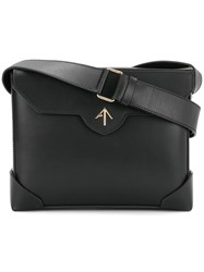 Manu Atelier Rectangular Shoulder Bag Leather Black