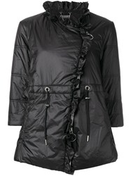Twin Set Cropped Sleeves Puffer Jacket Black