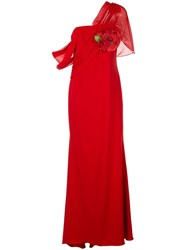 Badgley Mischka Asymmetric Draped Gown Red
