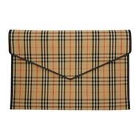 Burberry Beige And Black Large 1983 Check Envelope Clutch
