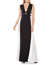 Bcbgmaxazria Pleated Panel Gown Black Off White