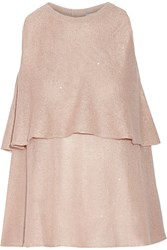 Brunello Cucinelli Sequin Embellished Linen And Silk Blend Top Pink