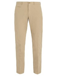 Altea Mid Rise Cotton Blend Chino Trousers Beige