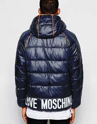 Love Moschino Padded Jacket Piping Detail Navy