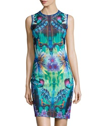 Mackenzie Mode Albert Peacock Print Scuba Sleeveless Dress Blue Multi