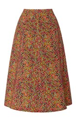 Philosophy Di Lorenzo Serafini Printed Cotton Drill A Line Skirt Floral