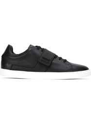 Louis Leeman Velcro Strap Lace Up Sneakers Black