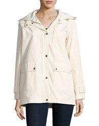 Kate Spade Solid Cotton Blend Hooded Jacket Cream