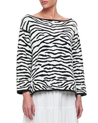 Joan Vass Reversible Animal Print Pullover Sweater Petite